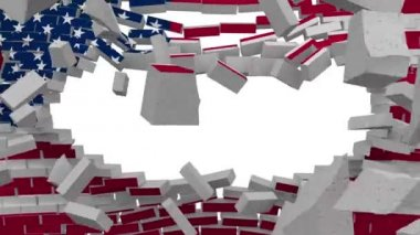 Exploding wall with flag of United States of America — Stock Video
