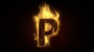Fiery letter p burning — Stock Video