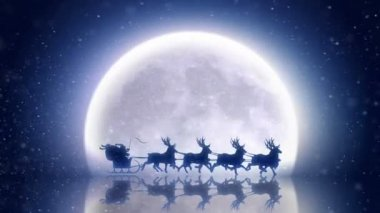 Santa With Reindeers Fly Over Moon — Stock Video
