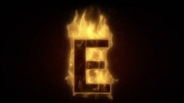 Fiery letter e burning — Wideo stockowe