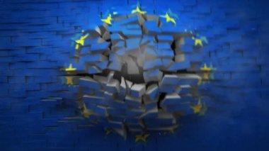 European Union flag Explodion — Stock Video