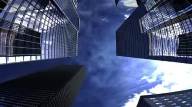 Skyscrapers with blue sky — Stock Video
