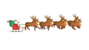 Santa claus with reindeers — Stock Video