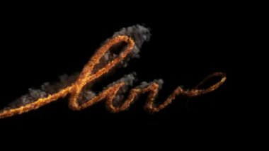 LOVE with fire — Stock Video