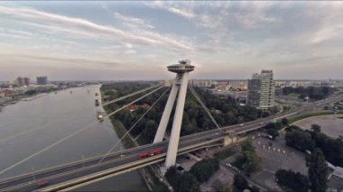 Bridge from sky over danube — Video Stock