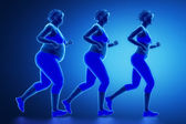 Running woman with obesity — Foto Stock