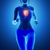 Running woman with heart — Stock Photo