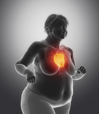 Running woman with heart issue
