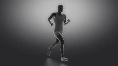 Running man met gewrichten scan — Stockvideo
