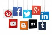 Social Media Logotype On Tags — Stock Photo
