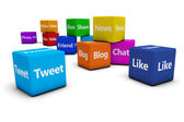 Web Social Media Signs On Cubes — Stock Photo