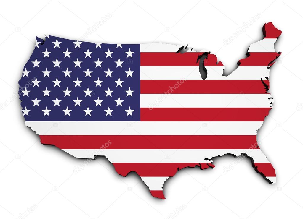塑造3d 的美国地图与国旗,孤立的白色背景上的插图– 图库图片