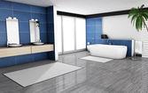 Blue Bathroom Home Interior — Stock Photo