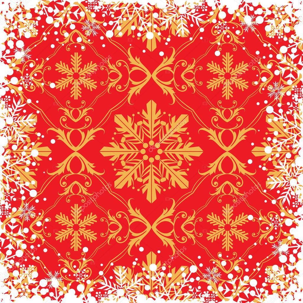 雪花抽象背景.圣诞边框– 图库插图
