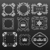 Decorative elements. Set of calligraphic vintage frames for design. Vector image. — Vector de stock
