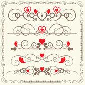 Vintage elements for wedding, valentine day — Stockvector