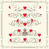 Vintage elements for wedding, valentine day — Stock Vector