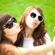Duckface. Selfie. Two young trendy girls doing selfie. A couple — Stock Photo #52157877