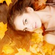 Autumn woman. Beautiful young trendy girl in autumn park.  — Stock Photo #52158031