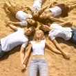Group young friends enjoying a beach party on vacation. People h — Stock Photo #52158127