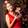 Beautiful young santa girl. Luxury richest woman in the Christma — Stock Photo #52158283