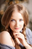 Face of a beauty young woman. Portrait of a beautiful modern gir — Stock Photo