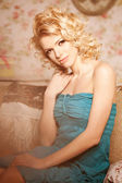 Beauty woman. Face of a young beautiful smiling blondy girl — Stock Photo
