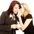 Business gossip. Women in the office. Two girls discuss the news — Stockfoto