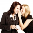Business gossip. Women in the office. Two girls discuss the news — Stock Photo #53667579