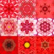 Collection of Nine Red Concentric Flower Mandalas Kaleidoscope — Stock Photo #71607455