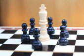 King and pawns closeup — Stock Photo
