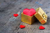 Wedding gift in the form of heart — Stock Photo