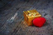 Gift with a heart — Stock Photo