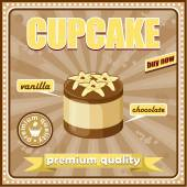 Vintage cupcake affisch — Stockvektor