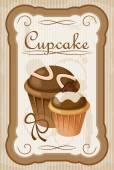 ビンテージ カップケーキ ポスター. — ストックベクタ