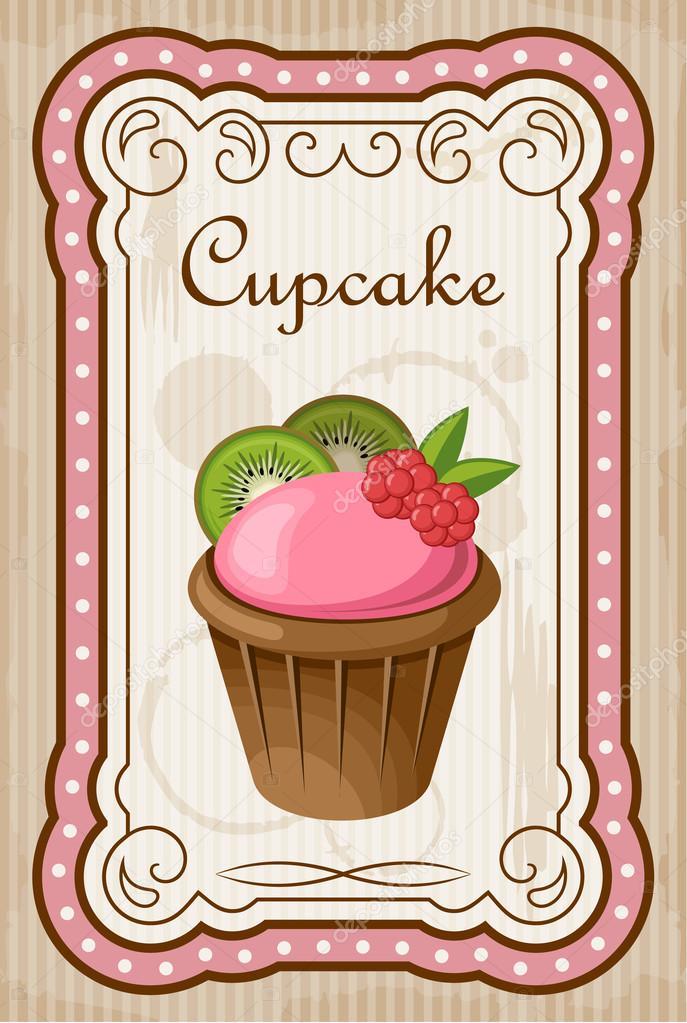 Vintage Cake Design Vector : Vintage cupcake poster. vektor cizim   Stok Vektor ...