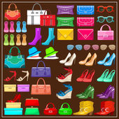 Set shoes, handbags and accessories. vector illustration — Stock Vector
