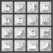 Set of flat icons for mobile app and web with long shadows. vector — Stock Vector