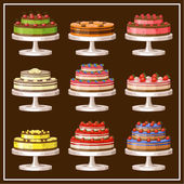 Set of cakes. vector illustration — Stock Vector