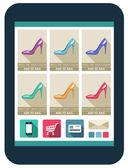 Online-shop auf dem tablettbildschirm. vektor-illustration — Stockvektor