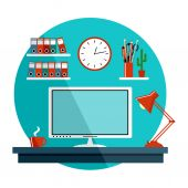 Flat vector illustration with office things, equipment. — Vector de stock