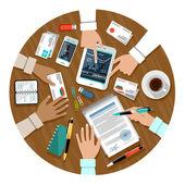 Podpisanie umowy. spotkanie biznesowe. — Wektor stockowy