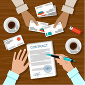 Signing a contract. Business meeting.  — Stock Vector