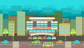 Supermarket. City in the style of flat design.  — Stock Vector