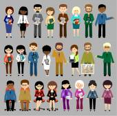 Big set of business people. vector — Stock Vector