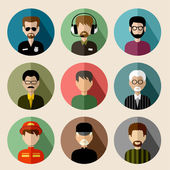 Set of round flat icons with men. vector illustration — Stockvektor