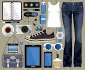 Mode ingesteld in een stijl platte ontwerp. — Stockvector