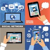 Social Networks. Internet communication. — Stock Vector