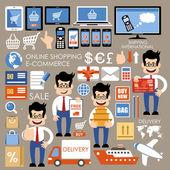 Internet shopping, e-commerce, online shopping set.  — Stock vektor
