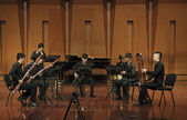 Bassoonists perform on wind music chamber music concert — Stock Photo